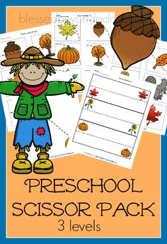 Teach scissor preschool practice with these FREE Fall printables.