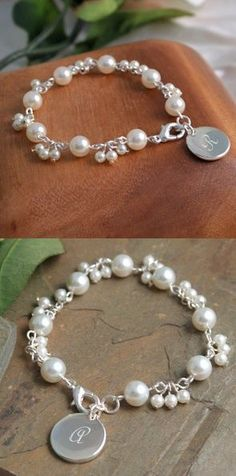 Personalized Romantic Pearl Bracelet image Bridesmaid gift idea....perfect to wear on the big day!