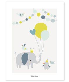 Affiche bébé enfant éléphant ballons garçon