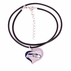 4a8cba72e Seattle Seahawks Football Logo with Leather Chain Necklace