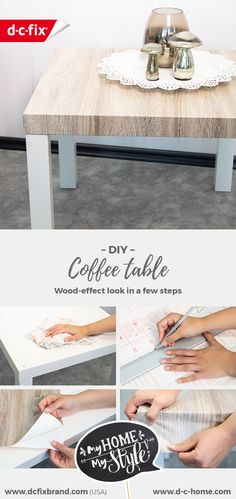 Give your coffee table a new wood-effect look in a few easy steps with our adhesive film. Diy Coffee Table, Diy Table, Dc Fix, Create Your Own World, Ikea Furniture Hacks, Adhesive Vinyl, Budget, Flooring, Living Room