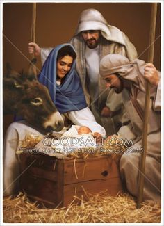 """""""And they came with haste, and found Mary, and Joseph, and the babe lying in a manger."""" KJV Luke Baby Jesus and Visit by Shepherds Artist Darrel Tank Pictures Of Christ, Jesus Christ Images, Religious Pictures, Religious Art, Christian Images, Christian Art, Birth Of Jesus, Baby Jesus, Christmas Nativity Scene"""