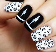 Black And White Leopard Nails