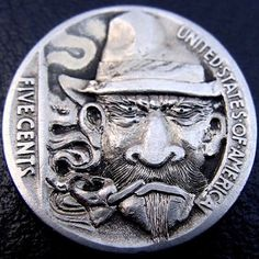 PAUL HOLBRECT HOBO NICKEL - THE OUTLAW - 1937 BUFFALO NICKEL REVERSE CARVING Old Coins, Rare Coins, Pewter Art, Hobo Nickel, Coin Art, Silver Coins, Art Forms, Sculpture Art, Chip Carving