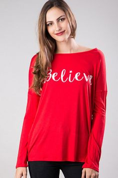 I Believe Long Sleeve Red Holiday Graphic Top