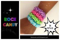 Como hacer pulseras de gomas Rock Candy
