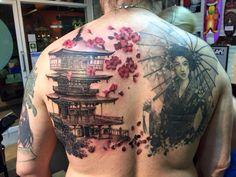 Embrace the pain, embrace it with joy. #lifeispainlearntoenjoyit #pagoda #geisha #tattoo  Tattoo by Patong anesthesia tattoo.