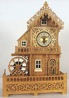 Wood Scrollsaw Mill clock plan from Wildwood designs. Took only 2 years to complete.
