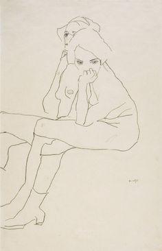 EGON SCHIELE, Tulln 1890 – 1918 Wien, ZWEI SITZENDE, 1911, Bleistift auf Papier, 559 x 371mm