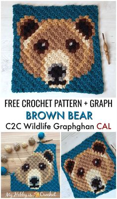 Brown Bear Square - Free Crochet Pattern + Graph The Brown Bear Square is block of the Wildlife Graphghan CAL. Find the free written instructions + graph on My. Crochet Afghans, Crochet C2c Pattern, Crochet Bear Patterns, Pixel Crochet, Crochet Squares, Baby Blanket Crochet, Crochet Baby, Knitting Patterns, Granny Squares