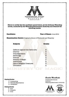 Harry Potter O.W.L's certificate with grades!!