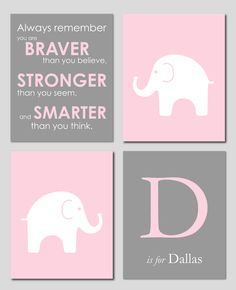 """Pink and Gray Modern Nursery Set - Winnie the Pooh Quote - Initial/Monogram - Elephant Silhouette - Set of four 8""""x10""""s. $50.00, via Etsy."""