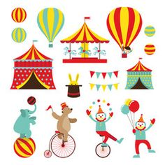 Vetor: Circus Objects Flat Icons Set, Amusement Park, Theme Park, Carnival, Fun Fair