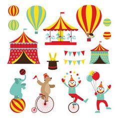 Vetor: Circus Objects Flat Icons Set, Amusement Park, Theme Park, Carnival, Fun Fair