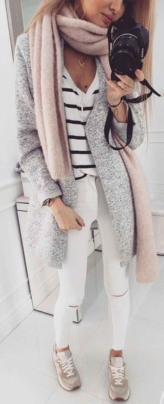 Oversized gray cardigan, striped tee, white ripped jeans, trainers and a long blush scarf. #streetwear #casual #fashion