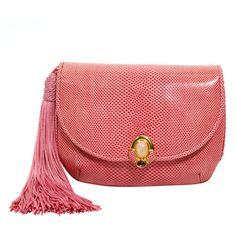 Judith Leiber Blush Pink Evening Bag with Tassel ❤ liked on Polyvore featuring bags, handbags, clutches, pink purse, leather purses, genuine leather handbags, red handbags and red clutches