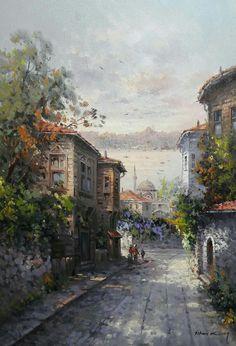 Painting Lessons, Artist Painting, Istanbul, Street Painting, Sad Art, Turkish Art, Beautiful Paintings, Traditional Art, Amazing Photography