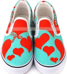 Red Heart Hand Painted Canvas Shoes
