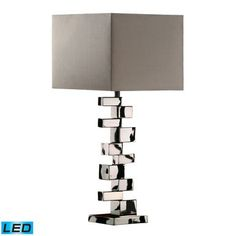 Dimond Lighting Emmaus LED Table Lamp In Chrome With Grey Faux Silk Shade