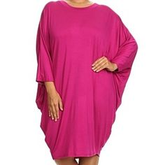 Boho Chic Fuschia Plus Size Solid Relaxed Fit Midi With 3/4 Dolman Sleeves Dress by Fashion N Fragrances on Opensky