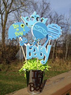 lil prince baby shower decorations | Baby Shower Table Decoration Centerpiece Prince Blues by table4six