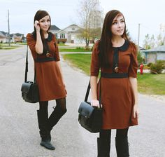 Miss Patina 60's Inspired Dress, Nectar Clockwatch Necklace, Urban Outfitters Satchel