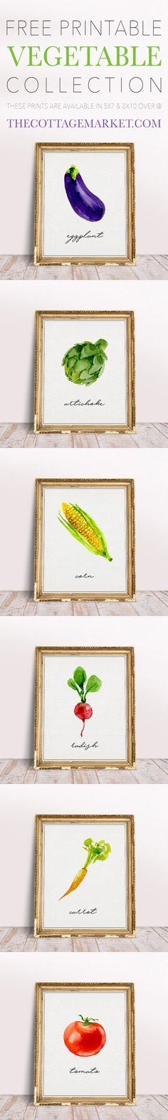 This Set of 6 Free Printable Vegetable Collection is waiting to hang out on your wall!