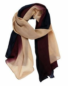 This soft chiffon scarf has the dark fall colors with hint of neuatral.  Even if it has the autumn shades, it's suitable for use all year round.  It's trendy and stylish in Taupe, Navy Blue & Wine.