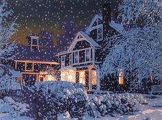 Nocturne, Illustrations, Illustration Art, Snow Night, Winter Night, Winter Snow, Linoleum Block Printing, Linocut Prints, Winter Scenes