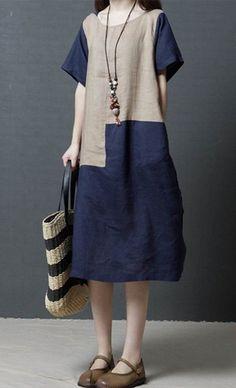 Women loose fit pocket dress patchwork tunic short sleeve large size summer chic #unbranded #dress