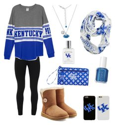 """⚪️GAMEDAY⚪️"" by elizabethnutt ❤ liked on Polyvore featuring Peace of Cloth, Vera Bradley, Essie and UGG Australia"