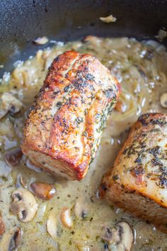 Personalized Graduation Gifts - Ideas To Pick Low Cost Graduation Offers This Roasted Pork Loin With Mushrooms, Shallots, Thyme, And Tarragon Is An Easy But Elegant Meal To Serve At A Dinner Party Or As A Weeknight Meal. Pork Sirloin Roast, Pork Tenderloin Recipes, Roast Recipes, Pork Loin, Cooking Recipes, Pork Tenderloins, Game Recipes, Beef Tenderloin, Meal Recipes