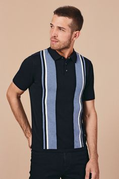 Buy Light Blue Vertical Stripe Polo from the Next UK online shop Polo Blue, Striped Polo Shirt, Vertical Stripes, Next Uk, Uk Online, Light Blue, Shop, Cotton, Mens Tops