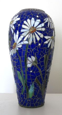 MOSAIC VASE   stained glassin vibrant cobalt by ParadiseMosaics, $475.00
