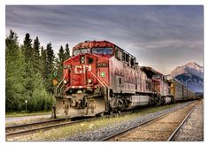 EDUCA: 1500 CANADIAN PACIFIC TRAIN ENTERING BANFF, HDR