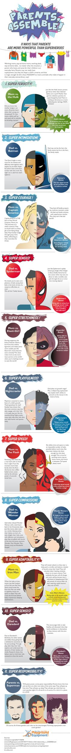 Parents, Assemble! 11 Ways That Parents Are More Powerful Than Superheroes #infographic #Parenting #SuperHeroes
