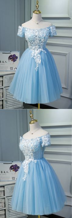 Cute blue tulle off shoulder knee length homecoming dress with sleeves, lace short party dress