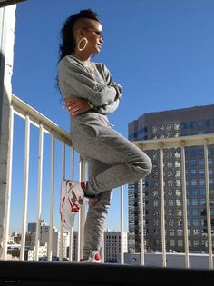 Cassie wearing Reebok Pump Twilight Zone! Love lounging around in a track suit perfect comfy clothes!