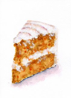 Slice of Carrot Cake  ORIGINAL Painting Vintage por ForestSpiritArt