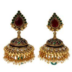 Large Jhumka Earrings | Home \ Multicolored Meenakari Large Jhumka Earrings