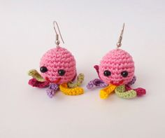 Squidgy Earring Octopus with colorful tentacles Of Mice & Men - Crocheted Soft Earrings by KernelCrafts on Etsy https://www.etsy.com/listing/166279670/squidgy-earring-octopus-with-colorful