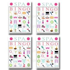 Spa Bingo Printable Game Girls Party Game by TidyLadyPrintables Girl Sleepover, Slumber Party Games, Spa Birthday Parties, Birthday Party Games, Slumber Parties, Bachelorette Parties, Sleepover Activities, Girl Parties, 21st Party