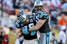 Carolina Panthers defensive end Jared Allen (69) and Carolina Panthers middle linebacker Luke Kuechly (59) celebrate during Super Bowl 50 against the Denver Broncos on Sunday, Feb. 7, 2016 at Levi's Stadium in Santa Clara, Calif.