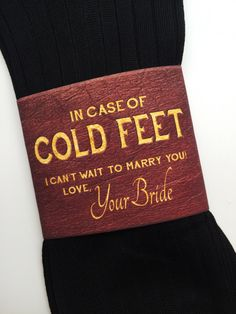 """""""In Case of Cold Feet"""" Socks Label- Bride's Gift to Groom"""
