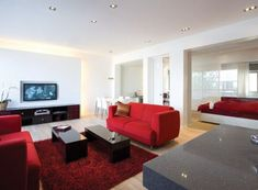 Awesome Red-White Apartment Interior Decor : Red White Apartment Interior Decor With White Red Bed Pillow Blanket Big Window Sofa Table Carpet LED TV Cabinet Marble Table Hardwood Floor And Dining Table Bar Stool Asian Living Rooms, Living Room Red, Cozy Living Rooms, Living Room Decor, White Apartment, Apartment Living, Cheap Apartment, Apartment Ideas, Design Seeds