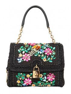 Borsa a spalla nera a fiori Dolce & Gabbana