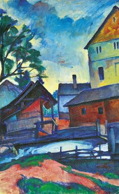 Ziffer Sándor (1880-1962), Street view with a bridge, 1923