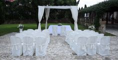 Classic outdoor seating and altar