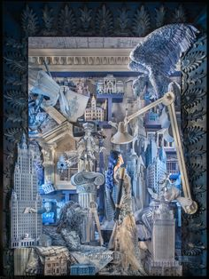 Windows of New York department store Bergdorf Goodman.Designed by David Hoey, put together by more than 600 craftspeople, the meticulously crafted windows are themed around the arts. Architecture features papercut sculptures inspired by old blueprints. real-world collage and childlike wonder (and Christmas) - Digital Arts http://www.digitalartsonline.co.uk/news/graphic-design/december-2014s-visual-trends-retro-sci-fi-riotous-colour-real-world-collage-childlike-wonder-christmas/#1