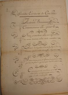 BIBLIOTYPES: Paillasson, Charles: Caligrafía francesa del s. XVIII Calligraphy Handwriting, Calligraphy Letters, Most Beautiful Words, Flourish, Book Art, Lettering, Scripts, Fountain Pens, Type